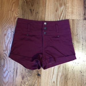 High Rise Maroon Shorts